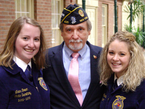 Legion College Dean Michael Hannan poses with FFA state leaders Leann Green and Amanda Rhodes.