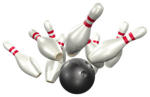 Bowling Ball Strikes Pins
