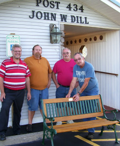 SAL members restored village benches in Brocton. From ledt are: SAL Chaplin Shane West, Adjutant Sean Connolly, Vice Grant Courson and  Commander Herb McIntyre.