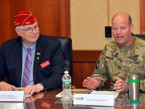 National Vice Commander V. James Troiola with Arsenal Commander Col. Joseph Morrow.