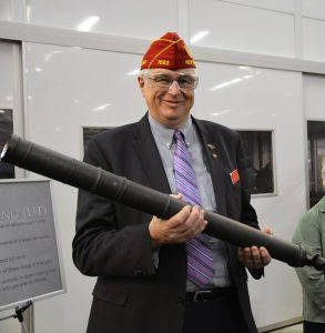 National Vice Commander V. James Troiola checks out a 60mm mortar tube during his tour of the Watervliet Arsenal.