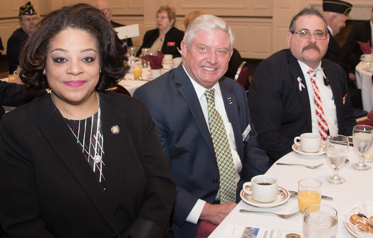 Assemblywoman Pam Hunter, chair of the subcommittee on women veterans, breakfasted with Lewis County Commander Lee Hinkleman and Department Law and Order Chairman David Riley.