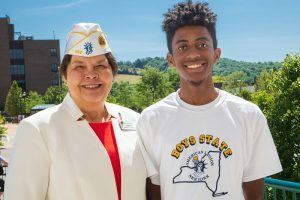 Commander Rena Nessler and Boys' State Governor Patrick Saint Ange