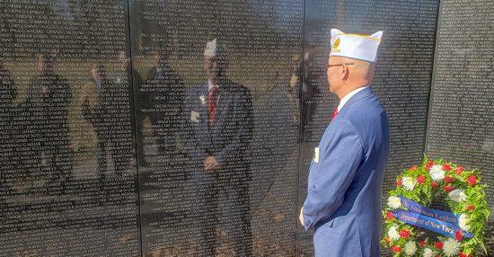 Department Commander Gary Schacher at the Vietnam Veterans Memorial in Washington, D.C.