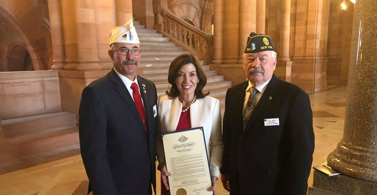 Kathy Hochul and Legislative Chair Frank LaMarsh