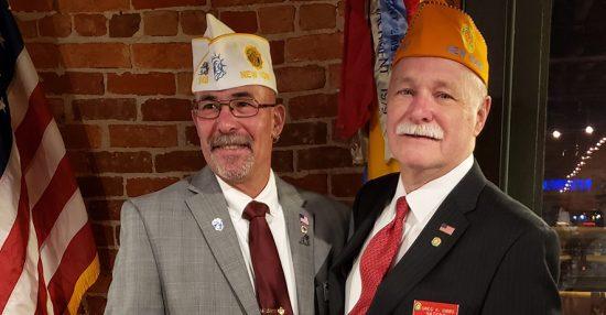 """<em><strong>Department Commander Gary Schacher with National SAL Commander Greg """"Doc"""" Gibbs."""