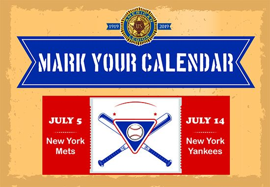 Poster promoting Legion Day games at Citi Field and Yankee Stadium