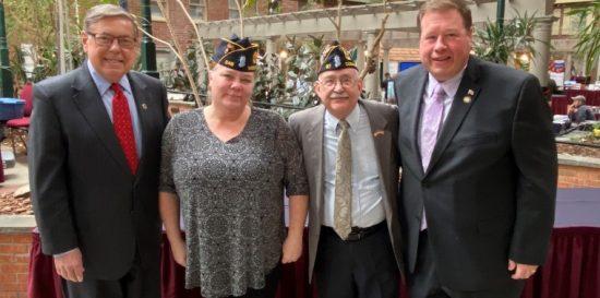From left, Senator James L. Seward, Schoharie County Veterans' Service Officer Eilene Fisher, Wells M. Farr, and Assemblyman Chris Tague.