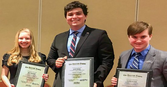 Oratorical winners: (From left) Riley Meckley, 3rd place; Scott Siegel, 2nd place; Victor Gelfuso, Department of New York Champion.